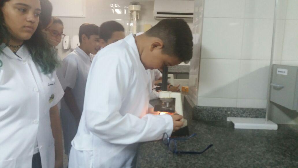 Alunos dos 7 anos visitam o Laboratório de Ciências.
